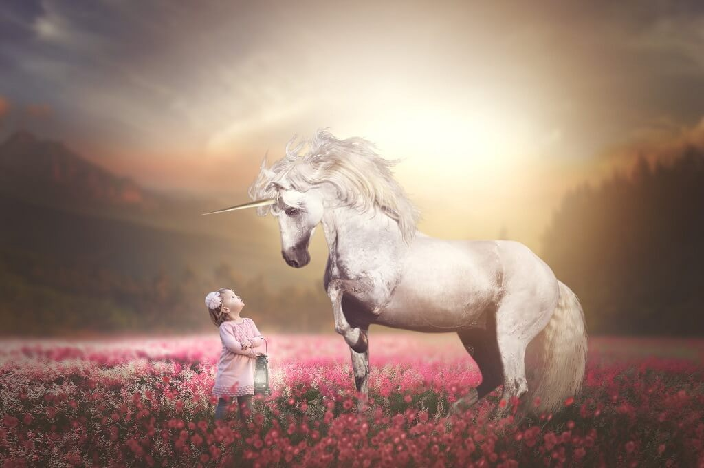 Composite Image Photoshop Unicorn and Young Girl
