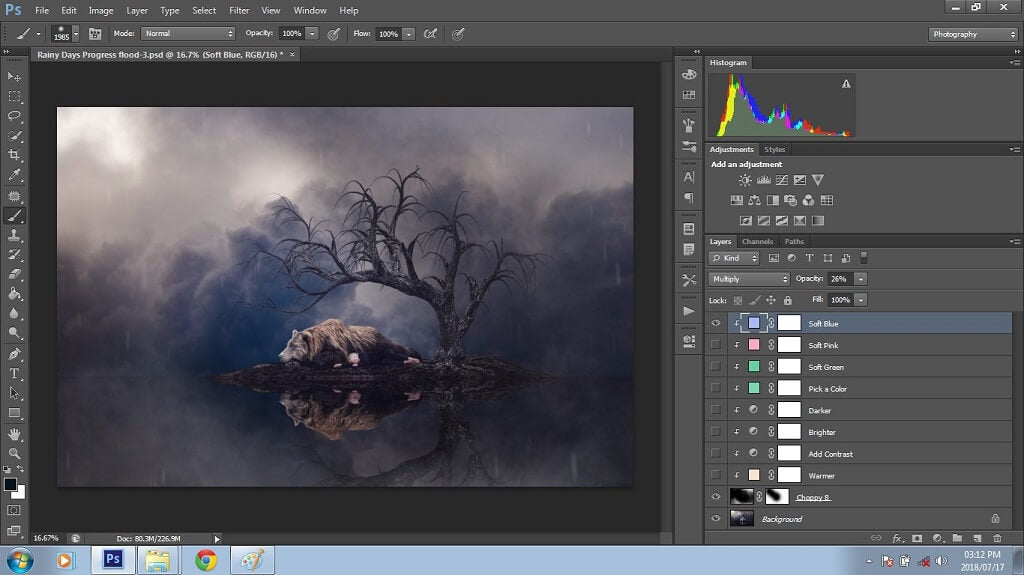 Photoshop Composite with Fog Overlay Added