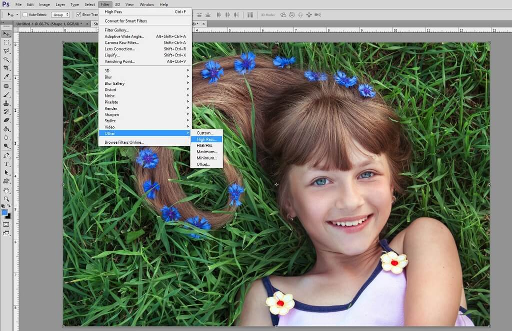 Using High Pass Filter in Photoshop to Sharpen Photo