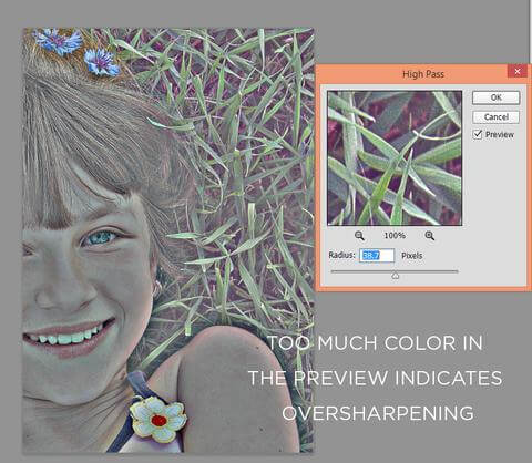 Too much color in photoshop high pass filter indicates oversharpening