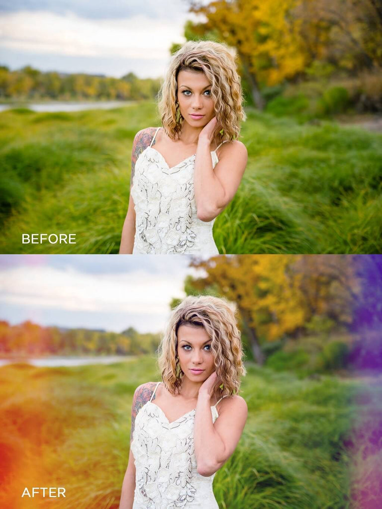 How to Make Light Leaks in Photoshop Before and After Photo