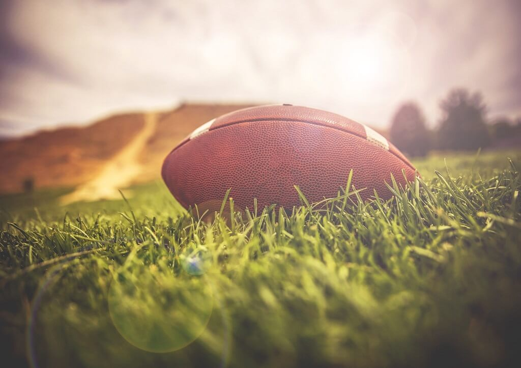 Perspective Image of a Football Photographed from Ground Level