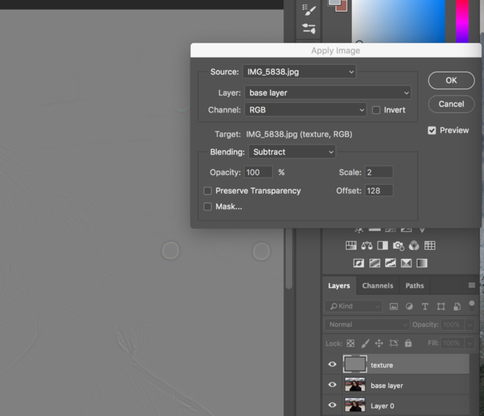 Frequency Separation Settings in Photoshop