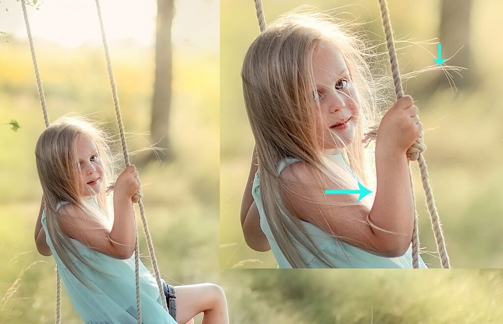 Chromatic Aberration Showing in Photo of Girl on Swing