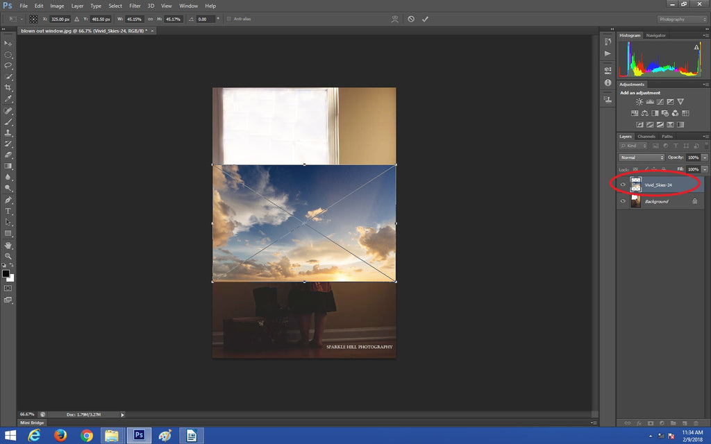 Placing your sky overlay in Photoshop