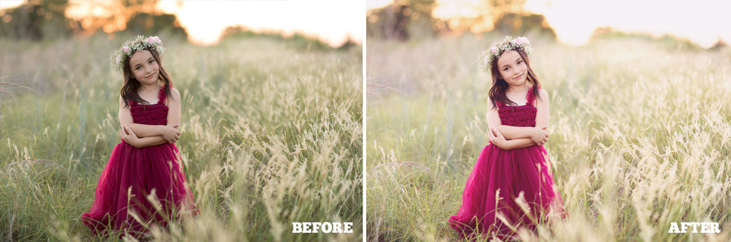 Before and After photo using Pretty Actions Pastel Dreams Photoshop Actions