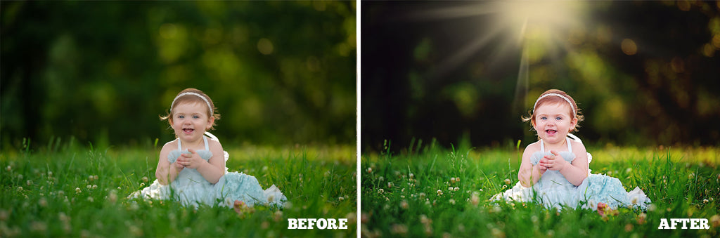 Before and After photo using Pretty Photoshop Actions Pastel Dreams Collection