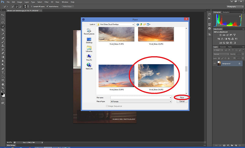 Selecting your cloud overlay for use in Photoshop