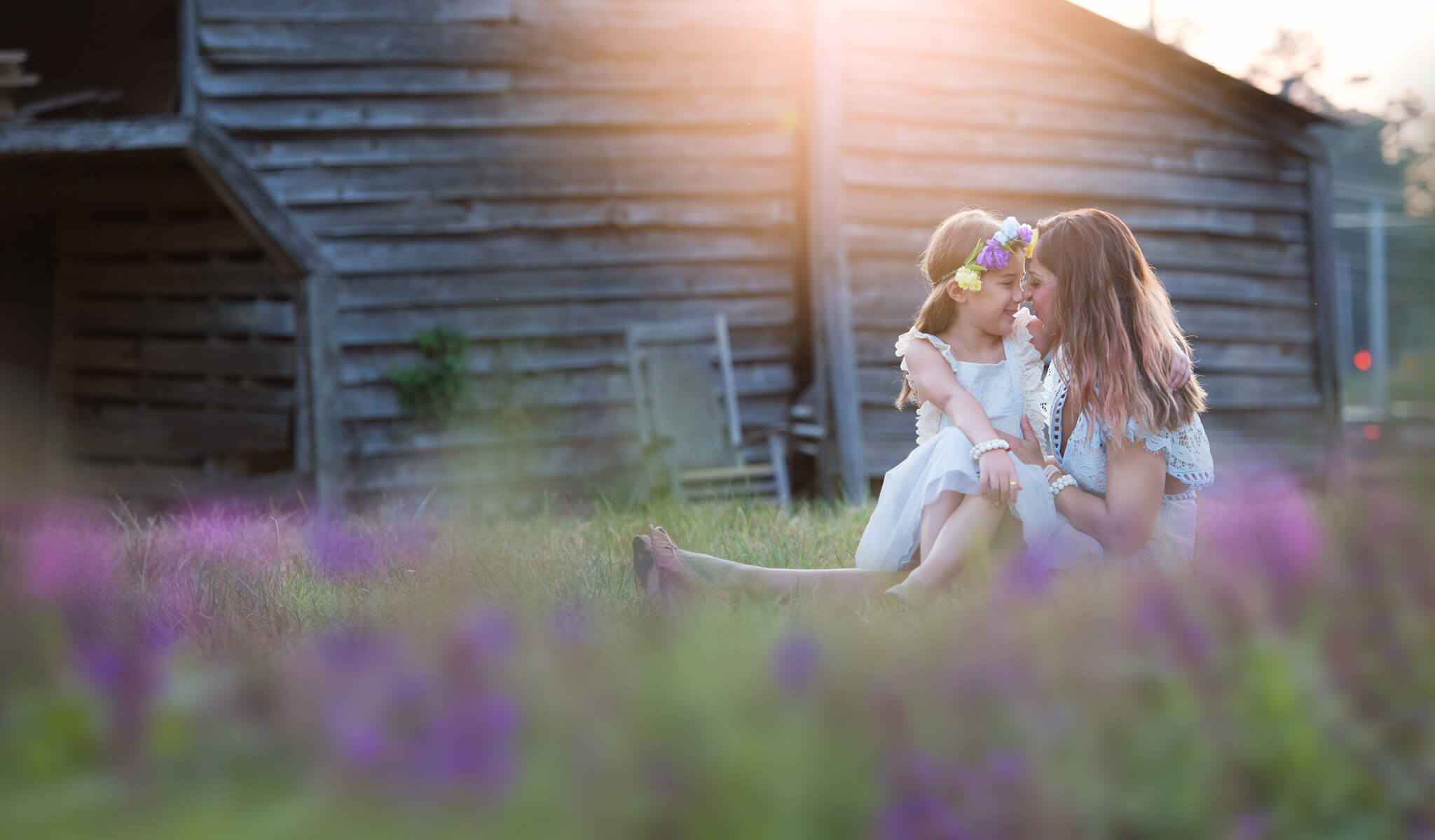 Flower Overlays framing beautiful portrait of mother and daughter