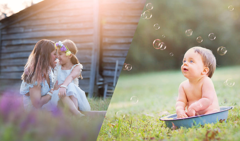 Bubbles & Blossoms Overlay & Actions Bundle