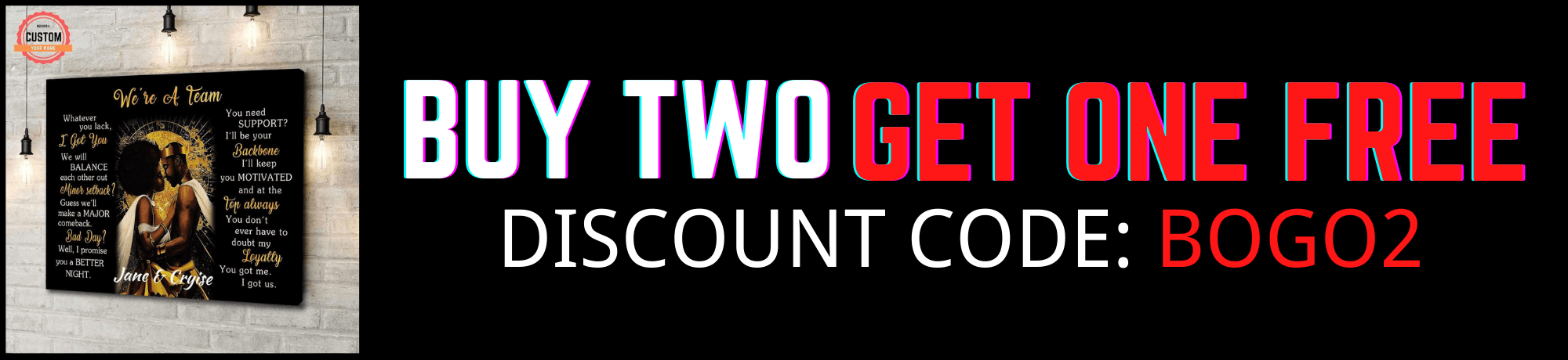 buy two get one free canvas