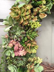 Artificial Succulent Wreath