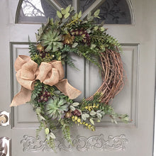 Load image into Gallery viewer, Artificial Succulent Wreath with fern leaves and burlap bow, front door wreath, succulent wreath
