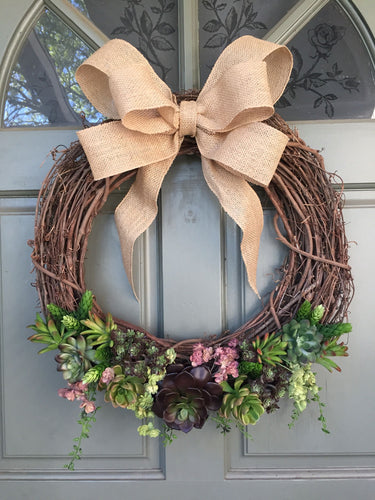 Artificial Succulent Wreath with burlap bow, front door wreath, succulent wreath
