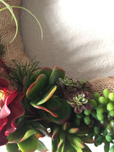 Load image into Gallery viewer, Artificial Succulent Wreath with burlap