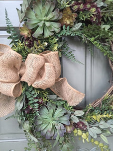 Artificial Succulent Wreath with fern leaves and burlap bow, front door wreath, succulent wreath