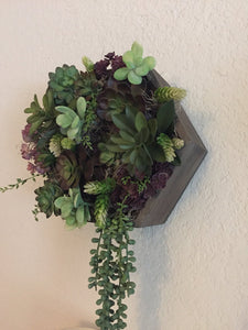 DISCOUNTED TO SELL! Artificial Succulent Hexagon Shadow Box, wall hanging, wall decor, succulent arrangement, hanging succulent arrangement