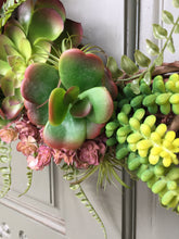 Load image into Gallery viewer, Artificial Succulent and air plant wreath, front door wreath, succulent wreath, air plant wreath