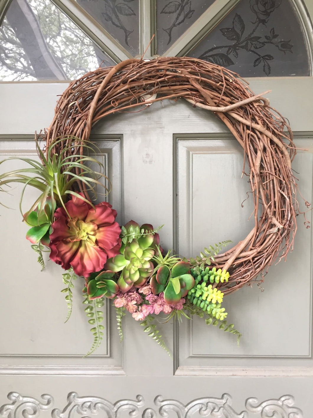 Artificial Succulent and air plant wreath, front door wreath, succulent wreath, air plant wreath