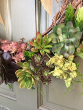 Load image into Gallery viewer, Artificial Succulent Wreath with burlap bow, front door wreath, succulent wreath
