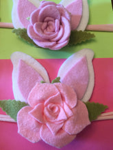 Load image into Gallery viewer, Childrens felt succulent flower headbands with bunny ears, Easter headband, Easter gift, infant toddler headband