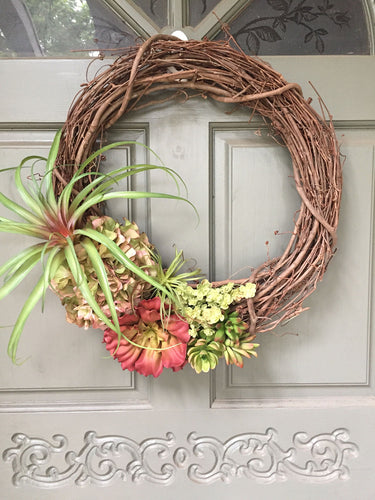 Artificial Succulent, air plant and hydrangea wreath, front door wreath, succulent wreath, air plant wreath, hydrangea wreath, spring wreath