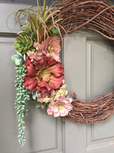 Load image into Gallery viewer, Artificial Succulent Wreath, front door wreath, succulent wreath, year around wreath, artificial wreath