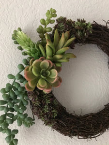 Artificial Succulent Mini Wreath, succulent wreath, grapevine succulent wreath, gift idea