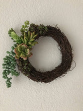 Load image into Gallery viewer, Artificial Succulent Mini Wreath, succulent wreath, grapevine succulent wreath, gift idea