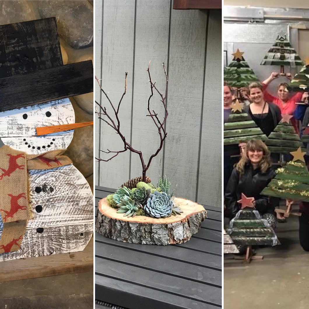 ***END OF TICKET SALES***DIY Holiday Workshop: Succulent Centerpiece and Rustic Christmas at Time & Space, Roseville, December 3