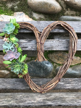 "Load image into Gallery viewer, 12"" LIVE succulent heart wreath, Valentine's Day gift, living gift idea"