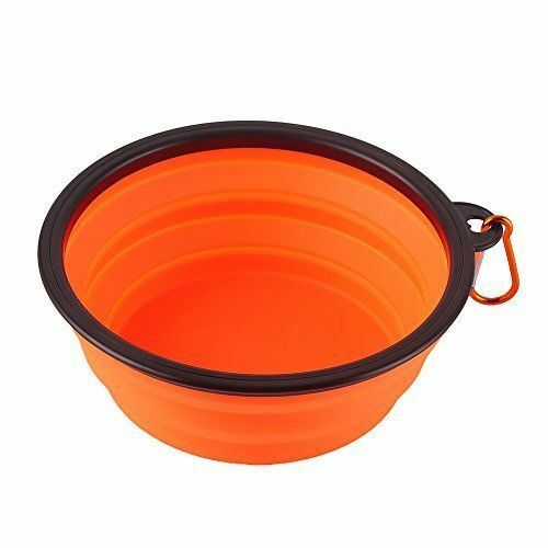 Dog Travel Bowl, Water Food Pet,  Silicone Collapsible & Carabiner (UK Seller)