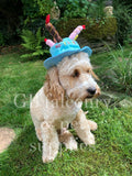 Happy Birthday Pink or Blue  Material Party hat for Dogs with candles