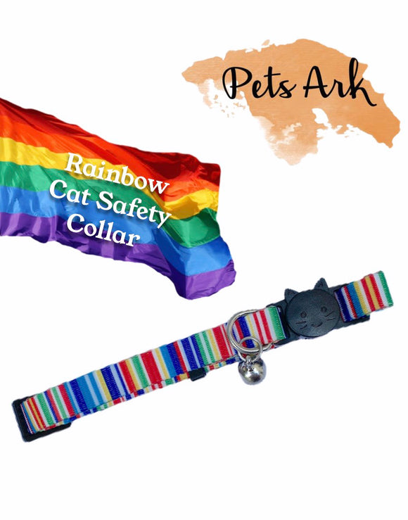 Breakaway Cat collar in rainbow colours with Bell. Suitable for tiny Dog Breeds