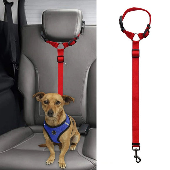 Dog car seat safety belt restraint also doubles as lead Adjustable