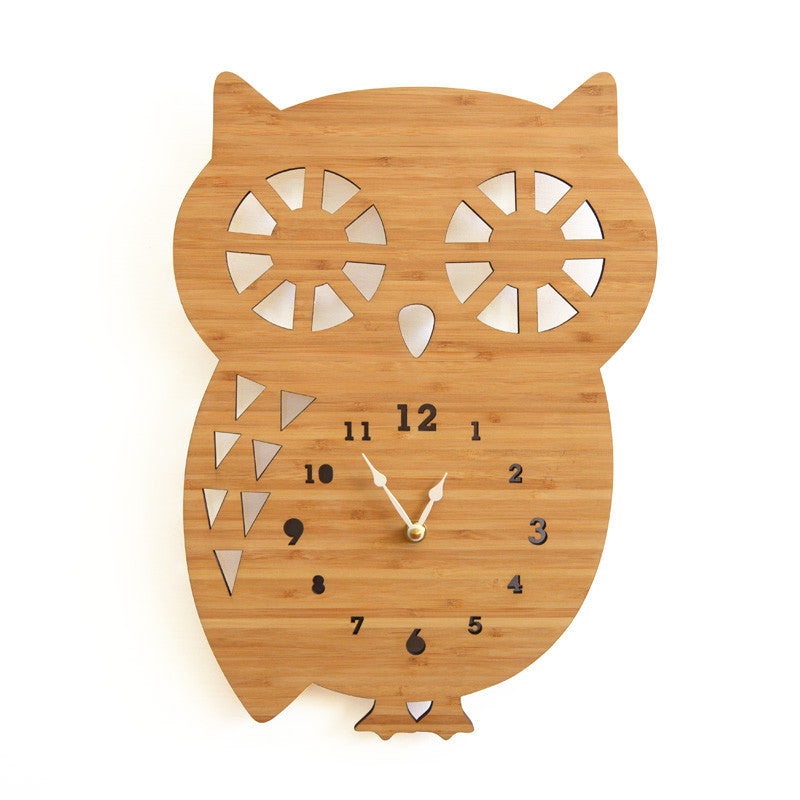Bamboo Large Owl Clock