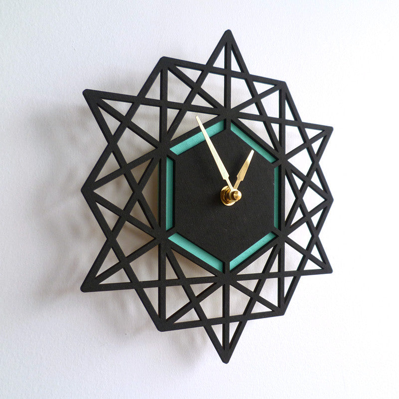 Geometric Wall Clock Black & Aqua