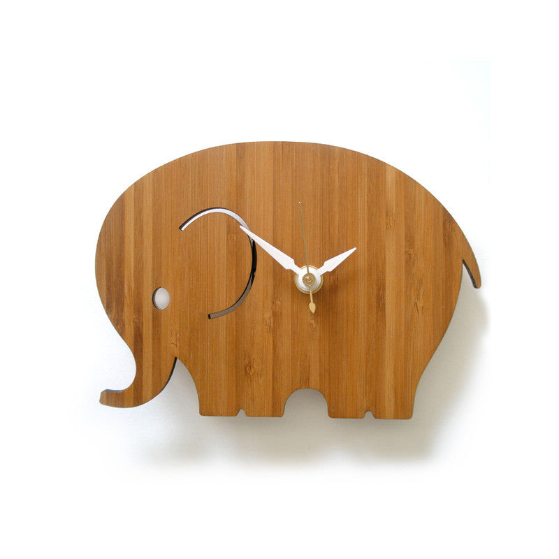 Bamboo elephant clock small