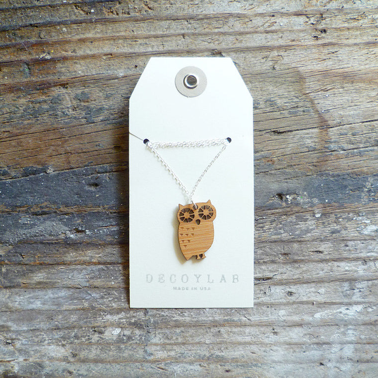 Owl Wood Necklace