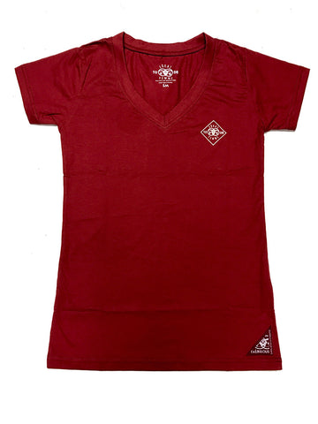 Diamond Plate Femme VNecks-Red