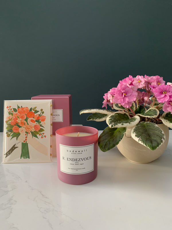 Bodewell Candle & African Violet Gift Set