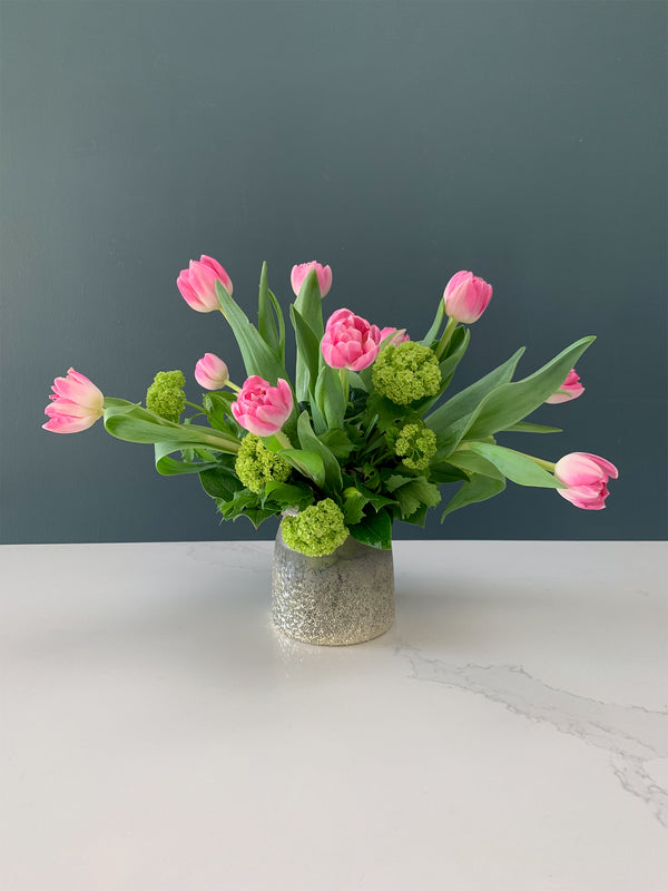 Spring Tulips and Viburnum