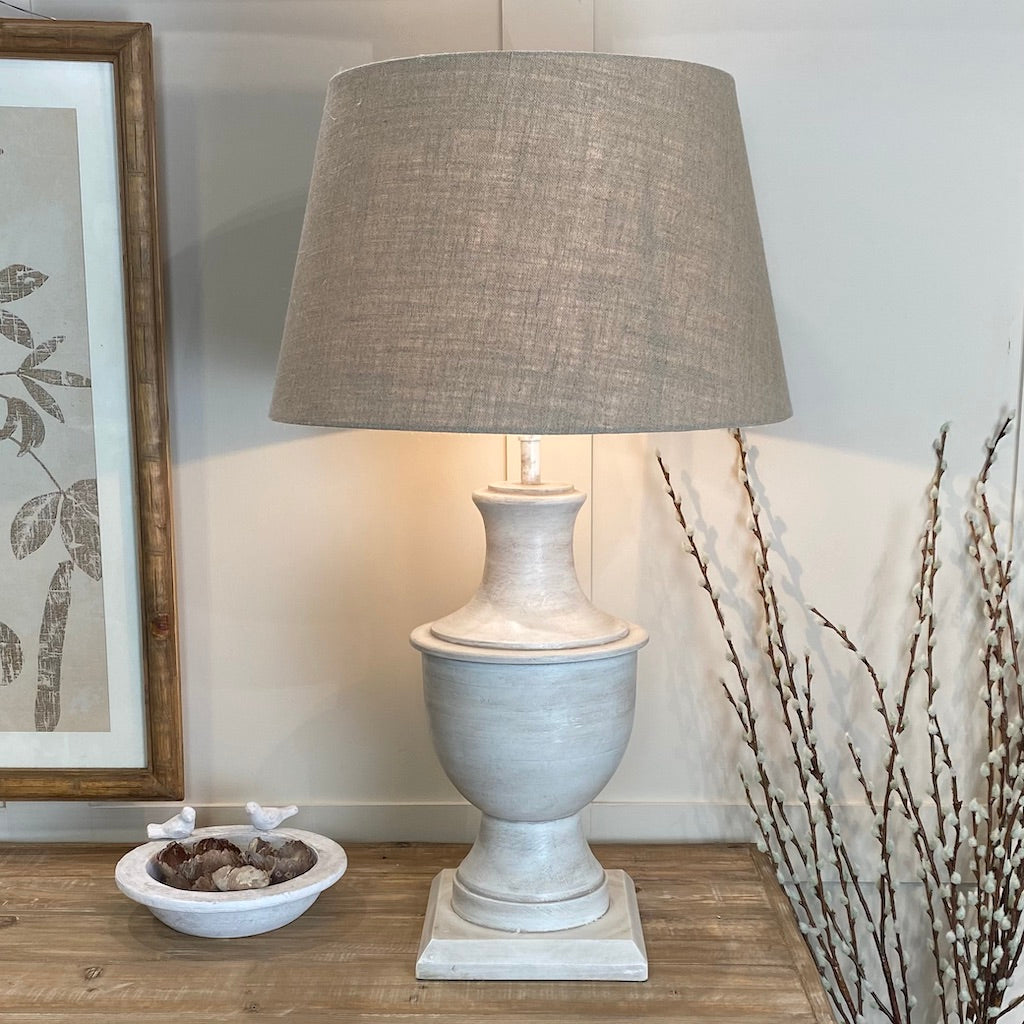 Antiqued White Wash Tall Urn Table Lamp