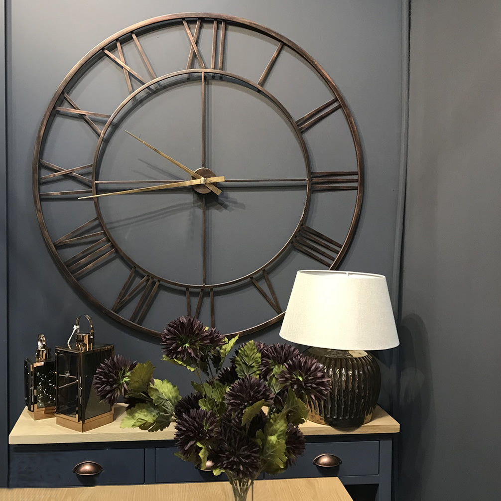 Antique Bronze Copper  Metal Skeleton Oversize Wall Clock