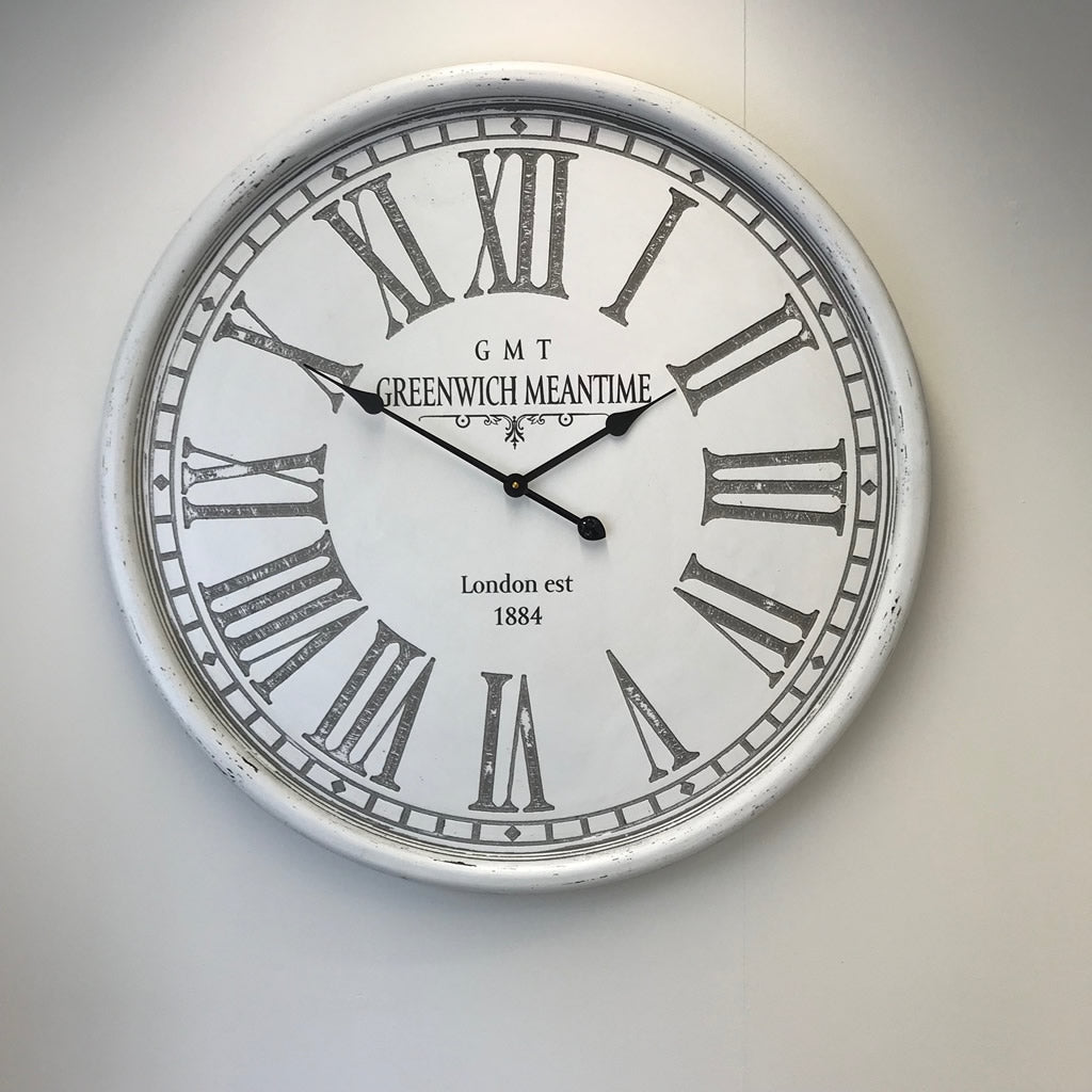 Greenwich Wall Clock Antique White Distressed