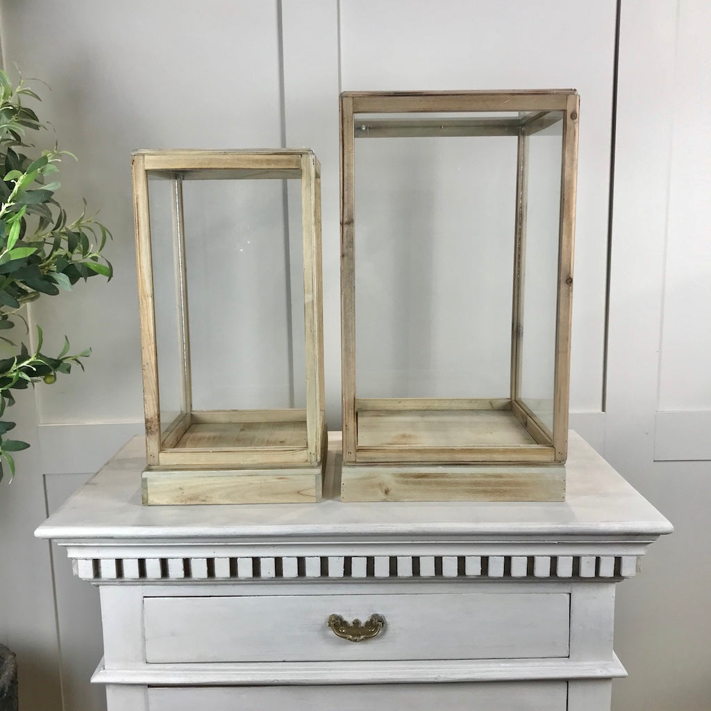 Wooden Framed Glass Display Cases Set 2