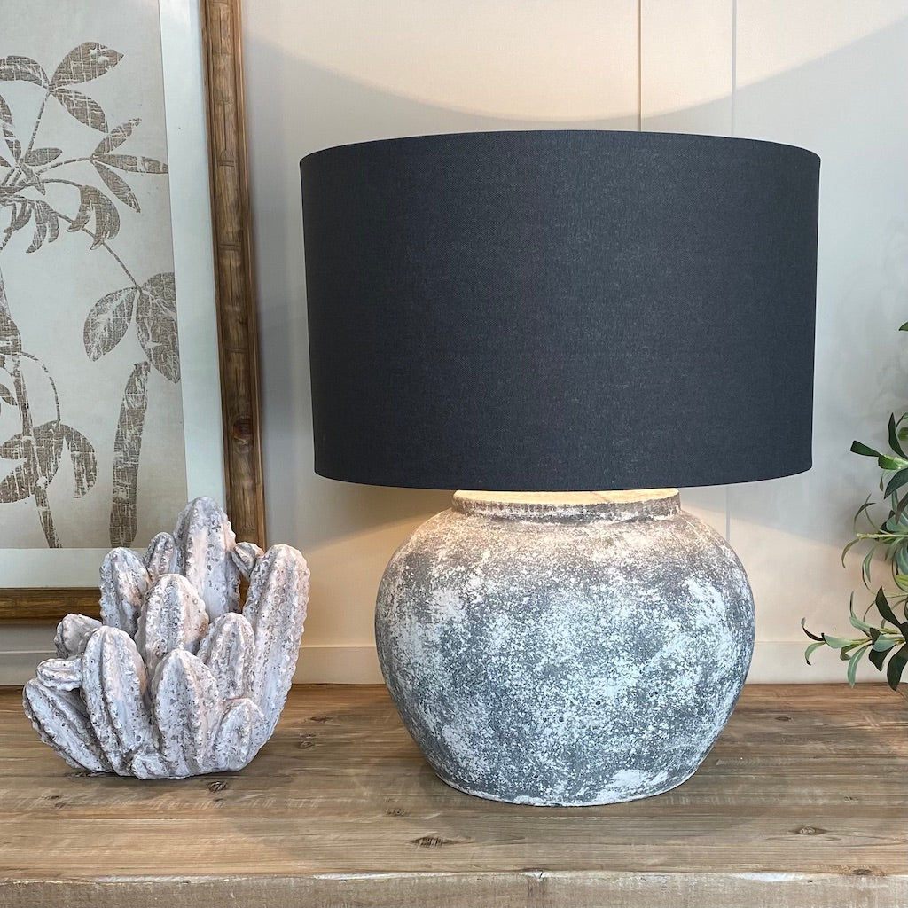 Marbled Grey Stone Effect Aged Ceramic Table Lamp
