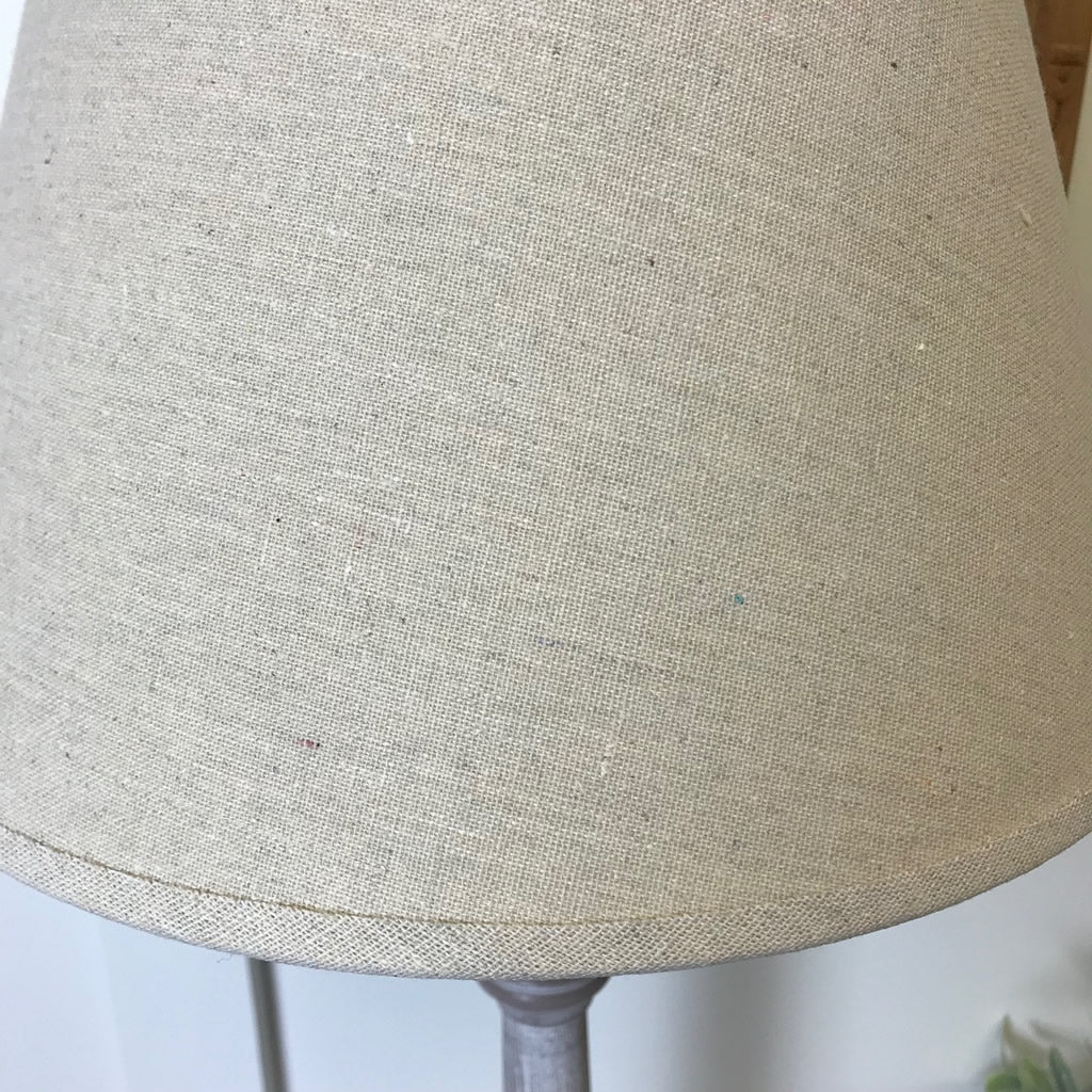 Tall Wood Table Lamp Whitewash Finish Linen Shade
