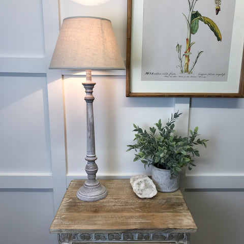 Tall Wood Table Lamp Whitewash Linen Shade