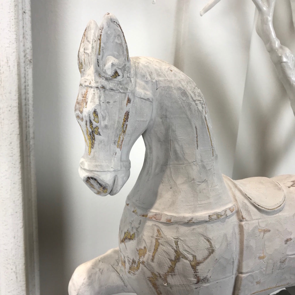 White Wooden Horse Ornament